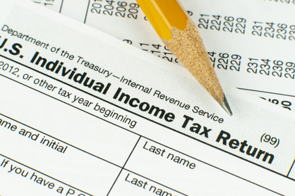 Closeup of pencil on U.S. Individual Income Tax Return from